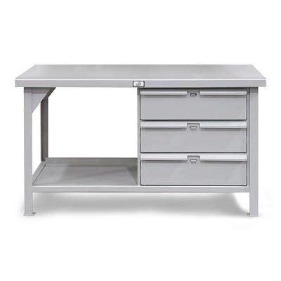 Industrial Shop Table With 3 Padlock Lockable Drawers