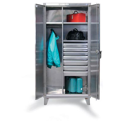 "Stainless Steel Uniform Cabinet With Drawers, 48"" Wide"